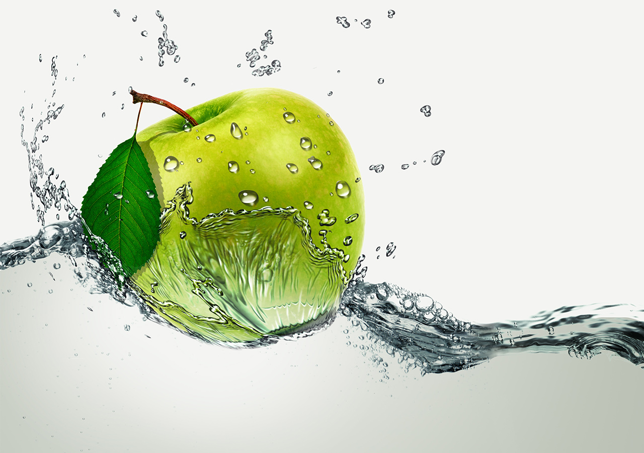 Apple dropped in the water