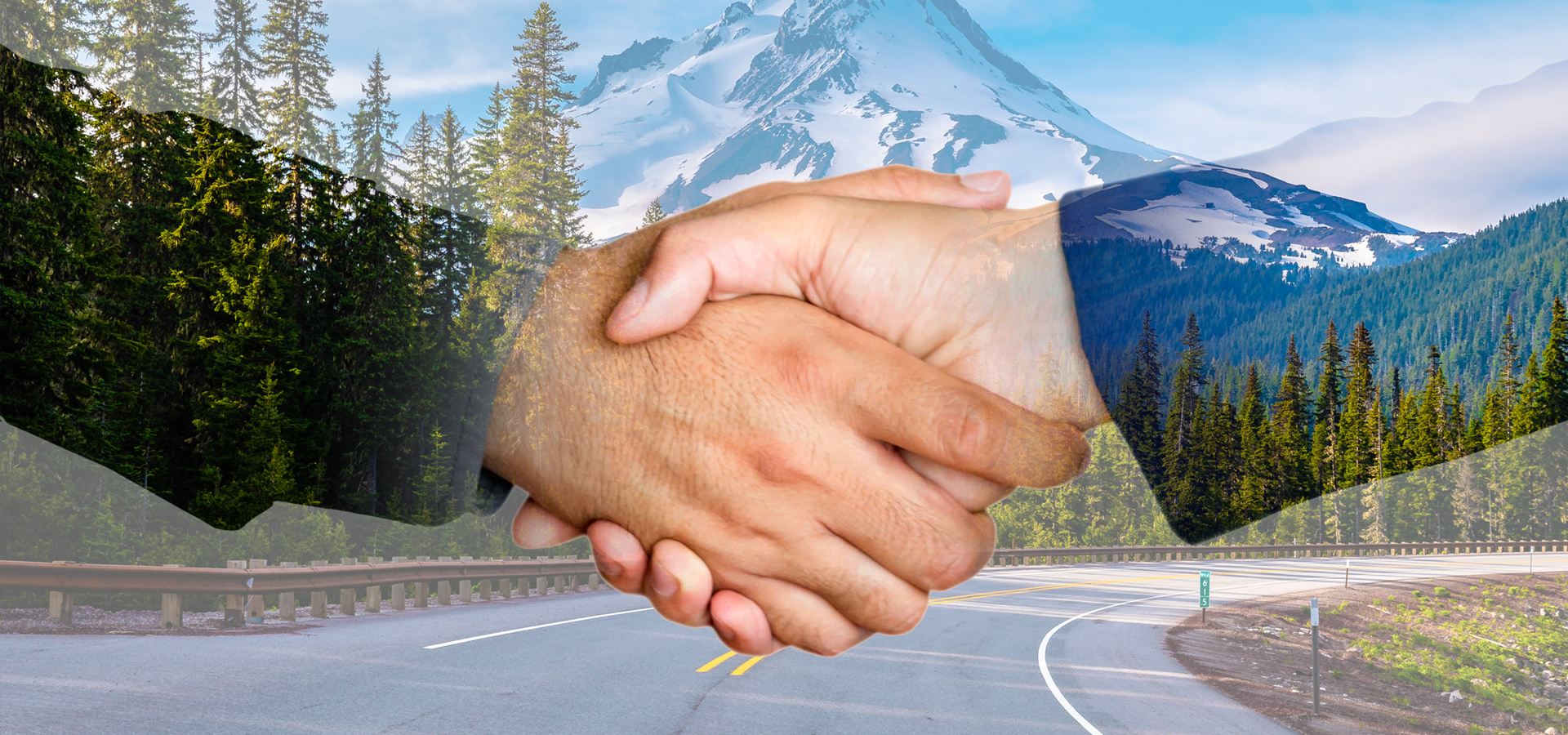 handshake with green energy in the background